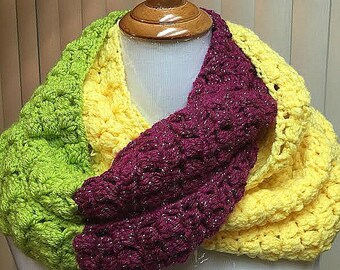 Crochet Scarf, Green, Yellow, Infinity Scarf, Color Block, OOAK, Handmade, Acrylic, Winter, Gift for Her, Gift for Women, Girlfriend Gift