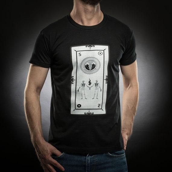 Sun t shirt,Tarot card shirt,Skull,tshirt men,black tshirt,Gift for him,Occult,Horror,Cotton,Sol's tee,Serial Popers tshirt