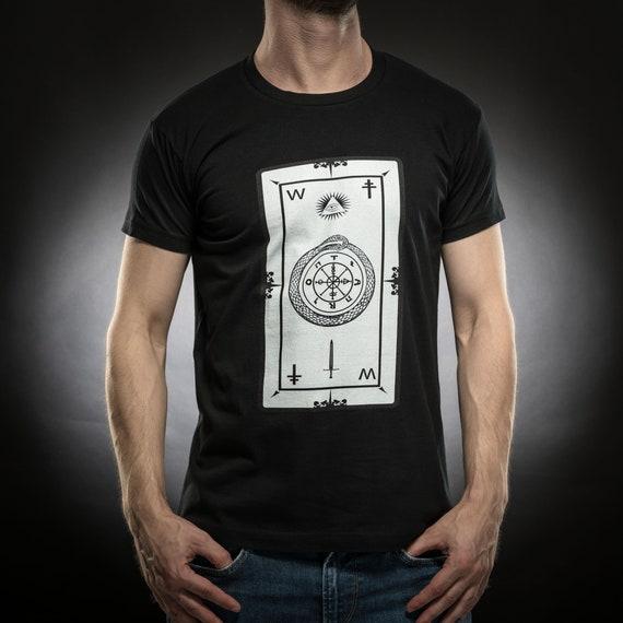 Wheel of fortune t shirt,Tarot card shirt,Snake,tshirt men,black tshirt,Gift for him,Occult,Horror,Cotton,Sol's tee,Serial Popers tshirt