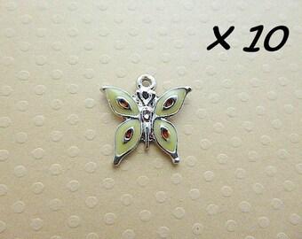 Set of 10 18 mm - L634 Butterfly enamel charms