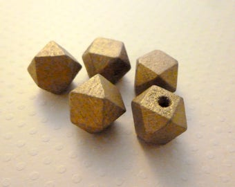 Set of 5 wooden beads faceted 12mm gold - PB12 1557