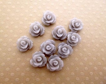 Set of 10 resin flowers 10mm - en-0623 gray