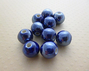 Set of 10 dark blue ceramic round beads 12mm - PCR12 1157