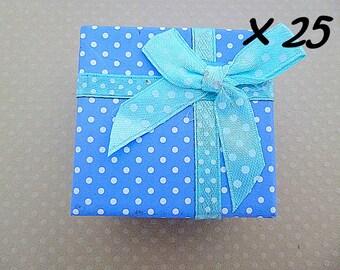Lot de 25 boîtes à bagues bleu 5x5x3cm