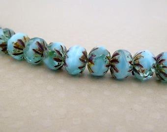 Lot de 10 perles crullers Mix Bleu 9x6 mm - CBCC18-0498