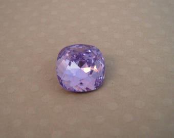Square Crystal 12 mm purple cabochon