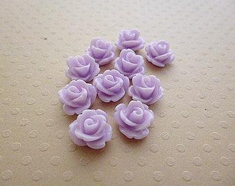 Set of 10 resin flowers purple 10mm - en-0623