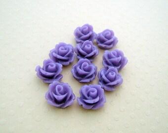 Set of 10 resin flowers purple 10 mm - en-0623