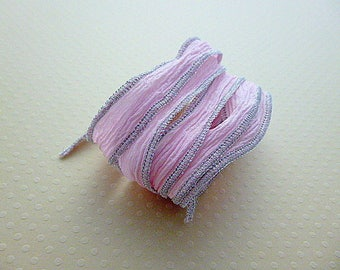 Silk Ribbon yarn hand dyed color metallic No. 923