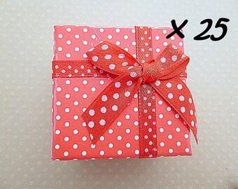 Lot de 25 boîtes à bagues rouge 5x5x3cm