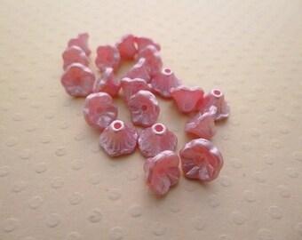 Lot de 20 perles fleurs 7x5mm Pastel Pink - VPFL75-1395