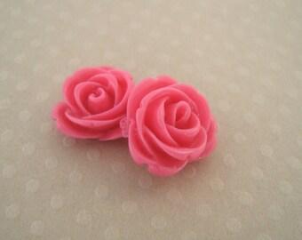 Set of 2 resin roses pink 13 mm - en-0163