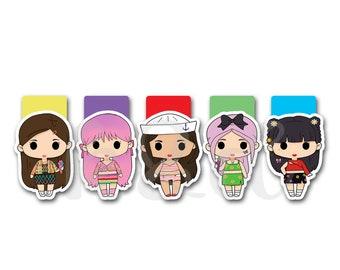 Magnetic Bookmarks . KPop Girls Ice Cream