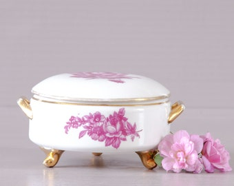 Limoges Jewelry Box | porcelain Box | Romantic Jewelry Box | Limoges Porcelain Trinket Dish | Trinket Box | Limoges France | Pink Roses