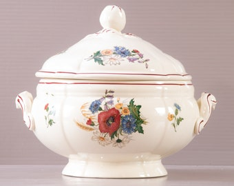 Sarreguemines Soup Tureen | Ironstone Tureen | French Country style Tureen | Agreste design | Floral decor | Apple shaped grip |