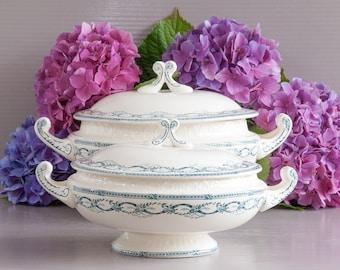 Antique Ironstone Set | Tureen & Vegetable dish | Antique Ironstone Salins France | Récamier Design | Green Transferware | Ironstone Tureens