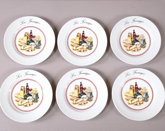 Set of 6 French Cheese Plates | Porcelain cheese plates | Red wine and French cheese decor | Vintage Cheese Plates | Hostess Gift idea