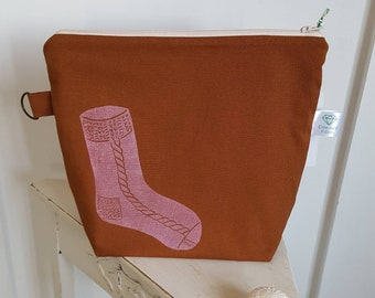 Caramel Sock Print Project Pouch