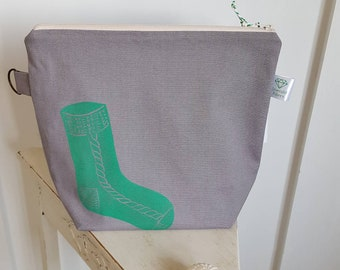 Pewter Sock Print Project Bag