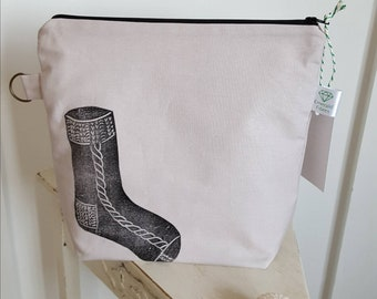 Ash Grey Sock Print Project Pouch