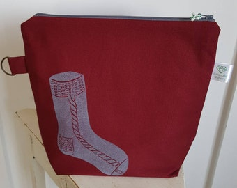 Burgundy Sock Print Project Pouch