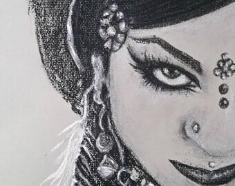 Exotic woman portrait sketch