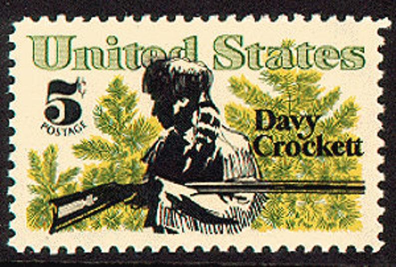 25x DAVY CROCKETT 1967 5c Unused Vintage Postage Stamp.Free image 0