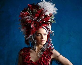Green & Red  Headdress, Ukrainian headwear, Crown, Flower Headpiece, Hair Accessories, Headband, Floral Circlet Headpiece, Ethnic Wreath