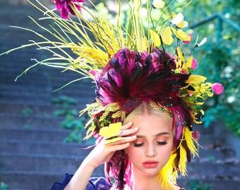 Purple & yellow Headdress, Ukrainian headwear, Crown, Flower Headpiece, Hair Accessories, Headband, Floral Circlet Headpiece, Ethnic Wreath