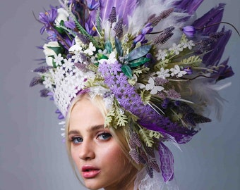 Purple Headdress, Ukrainian headwear, Crown, Flower Headpiece, Hair Accessories, Headband, Floral Circlet Headpiece, Ethnic Wreath