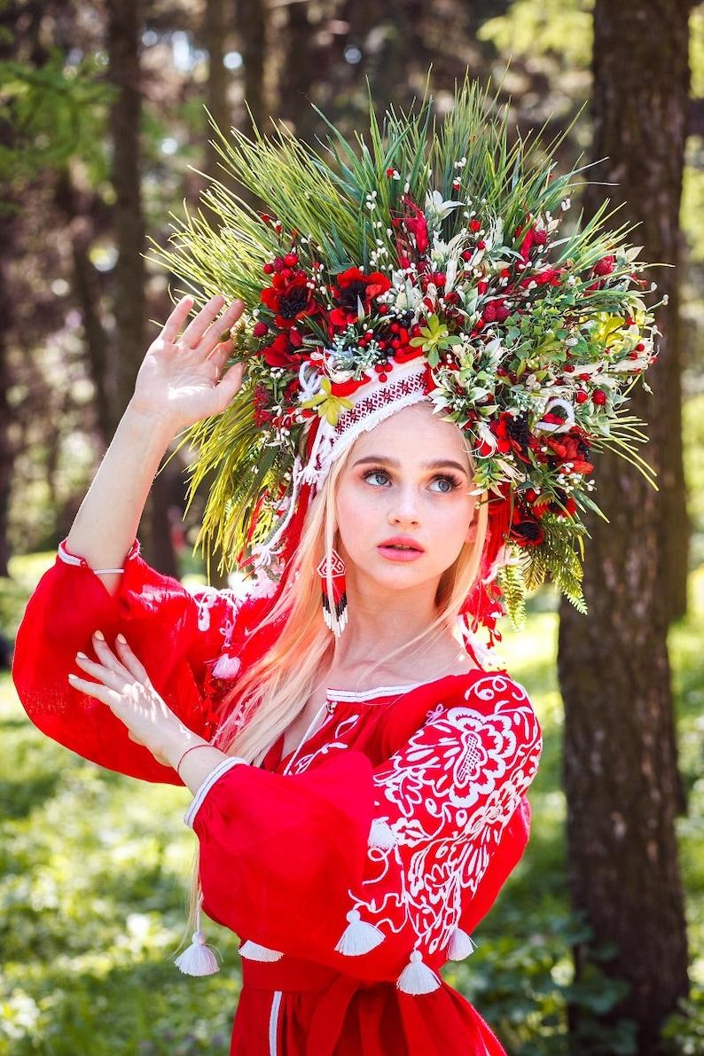 7ec4260fdaa Ukrainian headwear Red Headdress Flower Crown Flower