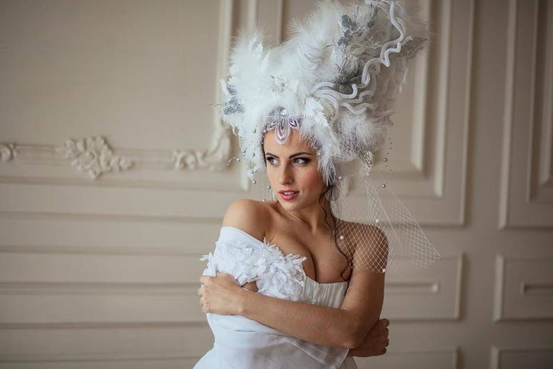 The Snow Queen Winter Crown White Headpiece Flower Etsy