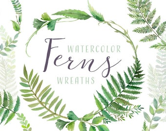 Watercolor Fern Wreaths Clipart   Forest Leaves - Greenery Wreath Arrangements - Wedding Invitation Clip Art - Instant Download PNGs