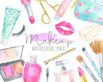 Watercolor Makeup Clipart   Cosmetics Clipart - Fashion and Beauty - Lipstick, brushes, blush, perfume - Planner Clipart - Instant Download