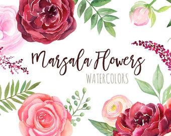 Watercolor Burgundy Flowers Clipart   Fall Wedding Flowers - Marsala and Pink Florals - Wedding Invitation Roses - Instant Download PNGs
