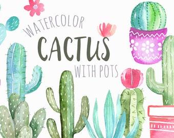 Watercolor Cactus Clipart   Cacti Succulents with Pots - Handmade Southwest Plants Clip Art - Digital Instant Download PNG files