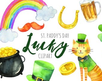 Watercolor St. Patty's Clipart   St. Patrick's Day Clip Art - Lucky Shamrock - Irish Clipart - Leprechaun, Pot of Gold - Instant Download