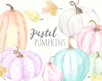 Pastel Pumpkins Clipart   Watercolor Pumpkin and Leaves - Fall Clip Art- Thanksgiving Harvest - Halloween Jack O Lantern - Digital Download