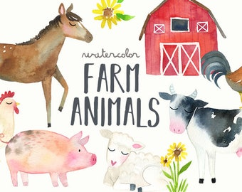 Watercolor Farm Animals Clipart | Farm Clip Art - Cow, Horse, Duck, Chicken, Rooster, Goat, Pig - Baby Shower, Scrapbooking