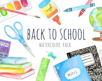Watercolor Back to School Clipart   School Supplies Clipart - Crayons, Planner, Art Supplies, Colored Pencil, Books - Instant Download