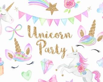 Watercolor Unicorn Face Clipart | Magical Unicorns - Kawaii Clipart - Chubby Unicorn, Stars, Clouds, Rainbows- Digital PNG Files