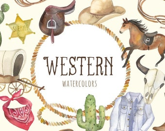 Watercolor Western Clipart   Cowgirl and Cowboy Clipart - Wild West Horse, Bandana, Cactus, Sheriff Badge, Covered Wagon, Cow Skull PNGs