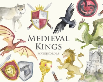 Watercolor Medieval Clipart | Thrones Clipart - Fantasy Dragons, Swords, Castle, Wolf, Crow, Crests and Shields - Instant Download PNG Files