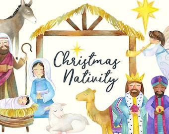 Watercolor Nativity Clipart   Christmas Nativity - Holiday Clipart - Nativity with baby Jesus, Mary, Manger, wise men and angel