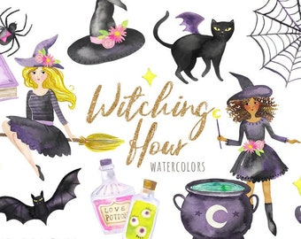 Watercolor Witch Clipart   Halloween Witches - with Cauldron, Potions, Broomsticks, Spider, Bat, and Witch Hat - Instant Download PNG Files