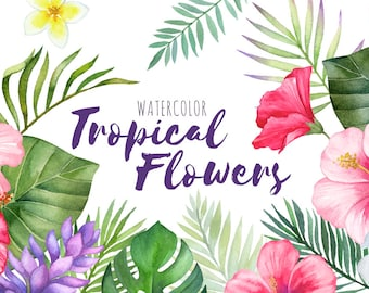 tropical flowers etsy