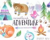 Watercolor Adventure Clipart Woodland Tribal Animals Clipart - Fall Camping Graphics - Teepee Tent, Forest Bear, Fox - Baby Nursery Art