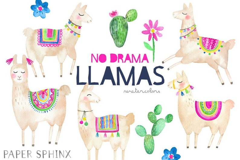 Instant Download PNG Files Alpacas with Cactus and Flowers Watercolor Clipart No Drama Llamas Watercolor Llama Clipart