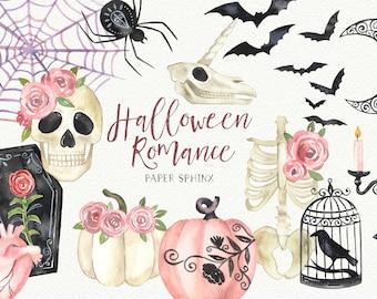 Watercolor Halloween Clipart   Pretty Halloween, Romantic Halloween, Unicorn Skull, Skull with Flowers, Floral Pumpkins - Clipart Graphics