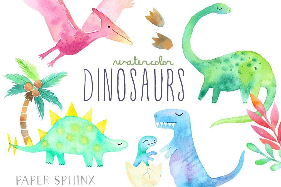 Dinosaurio acuarela imágenes prediseñadas Dinosaurio | Etsy